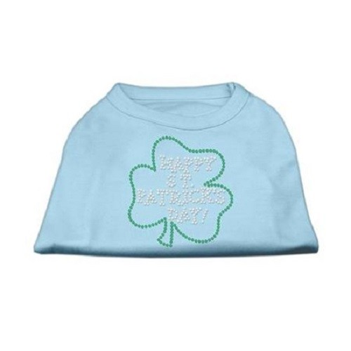 Happy St. Patrick's Day Rhinestone Dog Shirt - Baby Blue | The Pet Boutique
