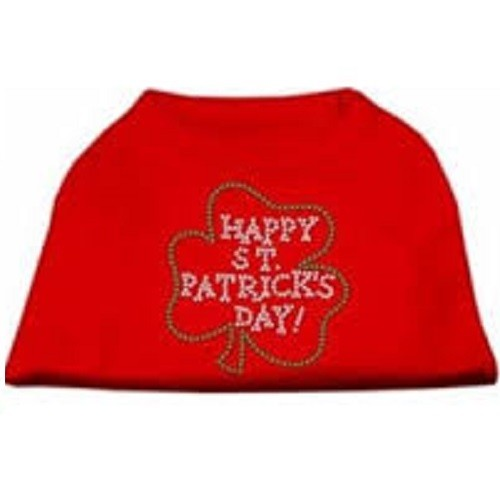 Happy St. Patrick's Day Rhinestone Dog Shirt - Red | The Pet Boutique