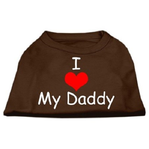 I Love My Daddy Screen Print Dog Shirt - Brown | The Pet Boutique