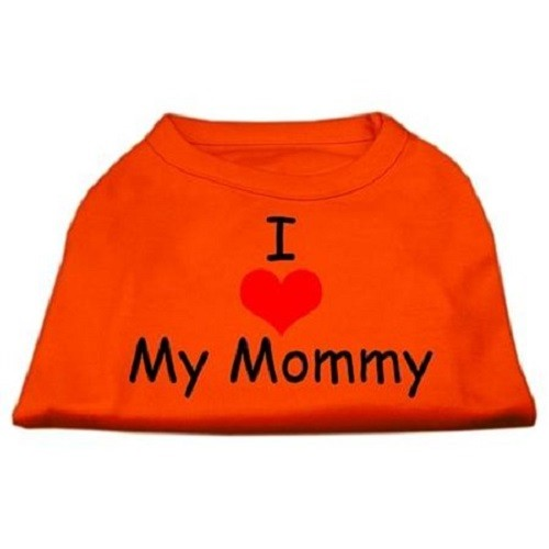 I Love My Mommy Screen Print Dog Shirt - Orange | The Pet Boutique