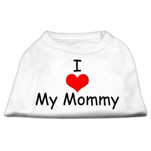 I Love My Mommy Screen Print Dog Shirt - White | The Pet Boutique