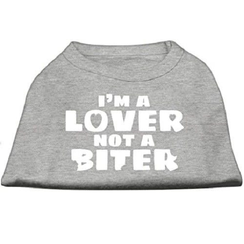 I'm a Lover not a Biter Screen Printed Dog Shirt - Grey | The Pet Boutique
