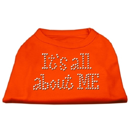 It's All About Me Rhinestone Dog Shirt - Orange | The Pet Boutique