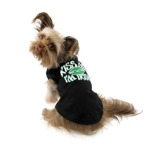Kiss Me I'm Irish Screen Print Dog Shirt - Black | The Pet Boutique