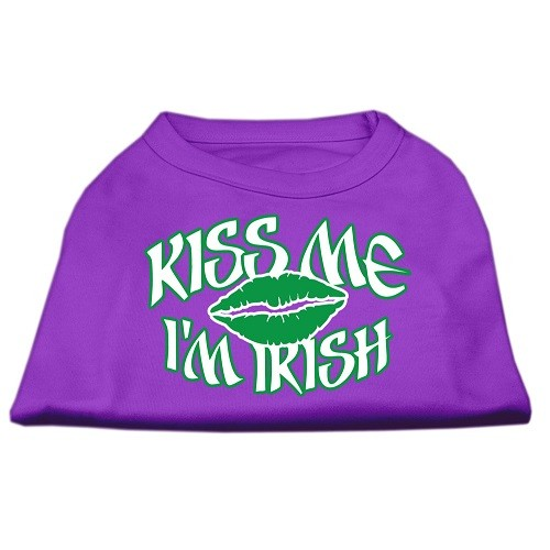 Kiss Me I'm Irish Screen Print Dog Shirt - Purple | The Pet Boutique