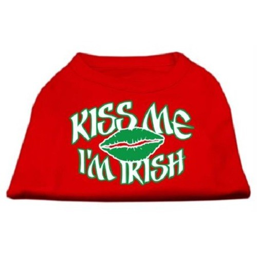 Kiss Me I'm Irish Screen Print Dog Shirt - Red | The Pet Boutique