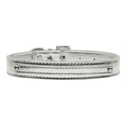 Metallic Two Tier Dog Collar - Silver | The Pet Boutique