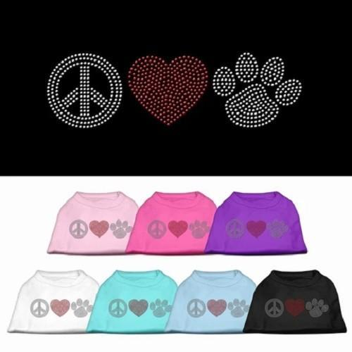 Peace Love and Paw Rhinestone Dog Tank Top   The Pet Boutique