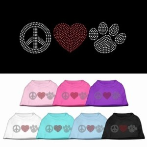 Peace Love and Paw Rhinestone Dog Tank Top | The Pet Boutique