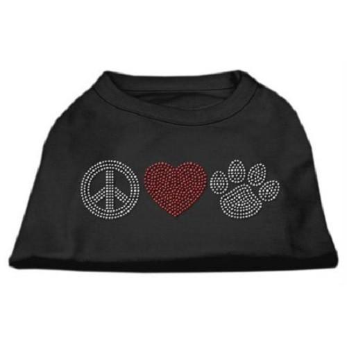 Peace Love and Paw Rhinestone Dog Tank Top - Black   The Pet Boutique