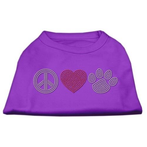 Peace Love and Paw Rhinestone Dog Tank Top - Purple   The Pet Boutique