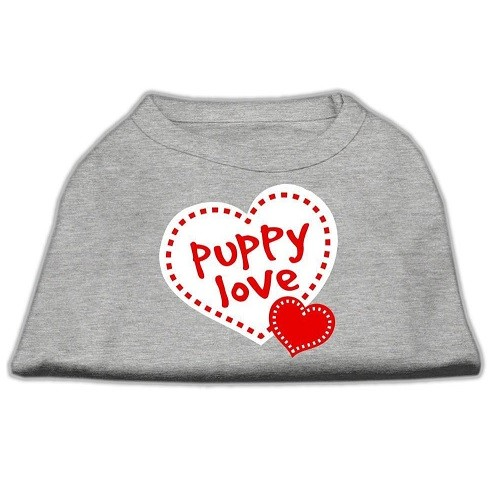 Puppy Love Screen Print Dog Shirt - Grey | The Pet Boutique