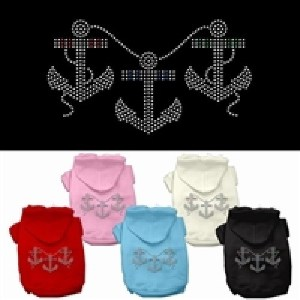 Rhinestone Anchors Dog Hoodie | The Pet Boutique