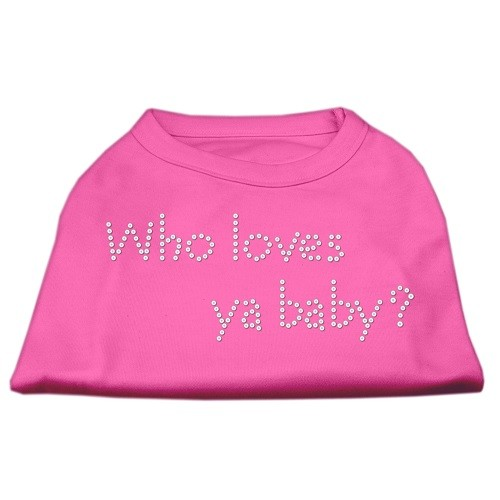 Who Loves Ya? Baby Rhinestone Dog Shirt - Bright Pink | The Pet Boutique