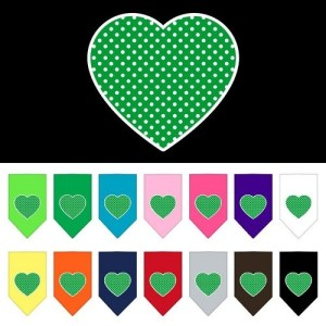 Green Swiss Dot Heart Screen Print Pet Bandana | The Pet Boutique