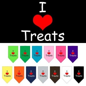 I Heart Treats Screen Print Pet Bandana | The Pet Boutique