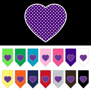 Purple Swiss Dot Heart Screen Print Pet Bandana | The Pet Boutique