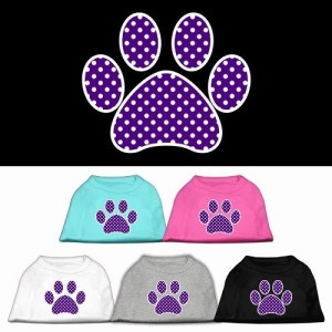 Purple Swiss Dot Paw Screen Print Dog Shirt | The Pet Boutique