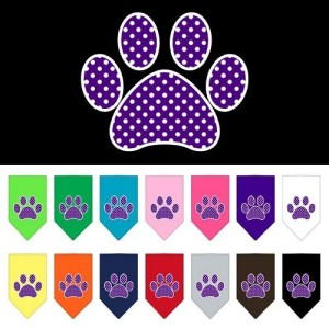 Purple Swiss Dot Paw Screen Print Pet Bandana | The Pet Boutique