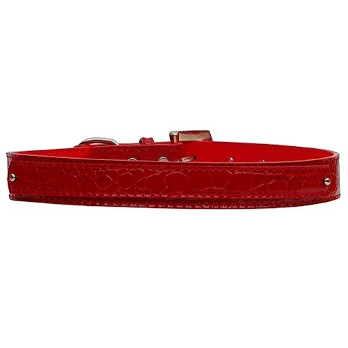 18mm Two Tier Faux Croc Dog Collar - Red | The Pet Boutique