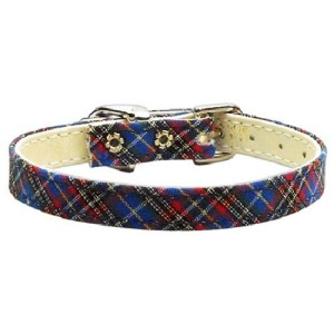 "3/8"" Plaid Plain Dog Collar - Blue 