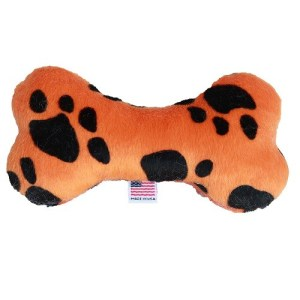 "6"" Plush Bone Dog Toy - Orange Paw 