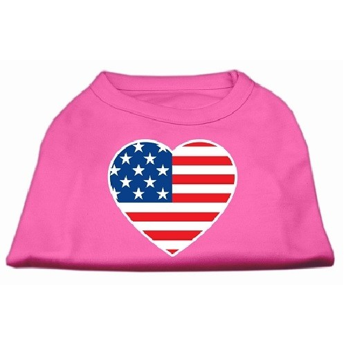 American Flag Heart Screen Print Dog Shirt - Bright Pink | The Pet Boutique