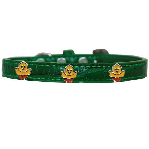 Chickadee Widget Croc Dog Collar - Emerald Green   The Pet Boutique