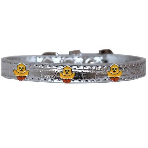 Chickadee Widget Croc Dog Collar - Silver   The Pet Boutique