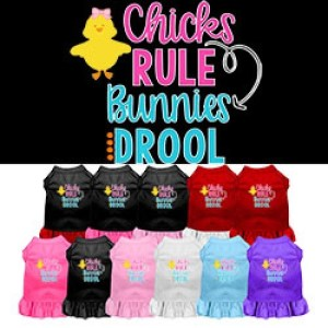 Chicks Rule Bunnies Drool Screen Print Dog Dress | The Pet Boutique