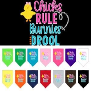 Chicks Rule Bunnies Drool Screen Print Pet Bandana | The Pet Boutique