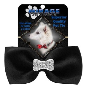 Crystal Bone Widget Pet Bow Tie - Black | The Pet Boutique