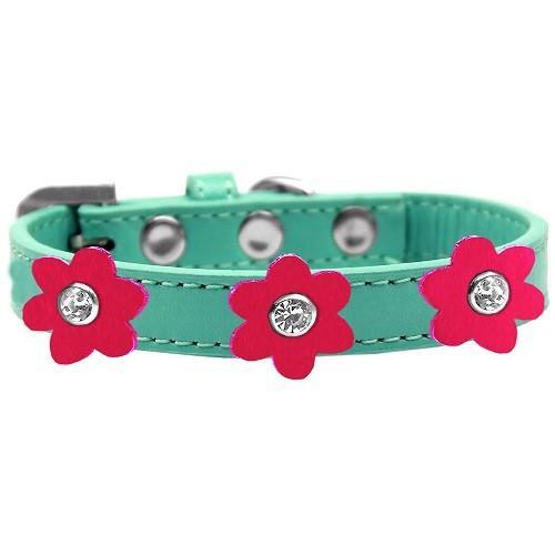 Flower Premium Dog Collar - Aqua With Bright Pink Flowers   The Pet Boutique