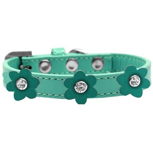 Flower Premium Dog Collar - Aqua With Jade Flowers   The Pet Boutique