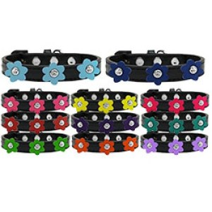 Flower Premium Dog Collar - Black | The Pet Boutique