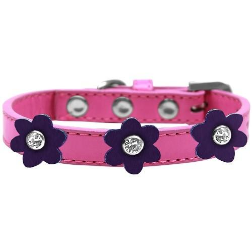Flower Premium Dog Collar - Bright Pink With Purple Flowers | The Pet Boutique