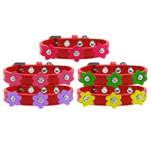 Flower Premium Dog Collar - Red | The Pet Boutique