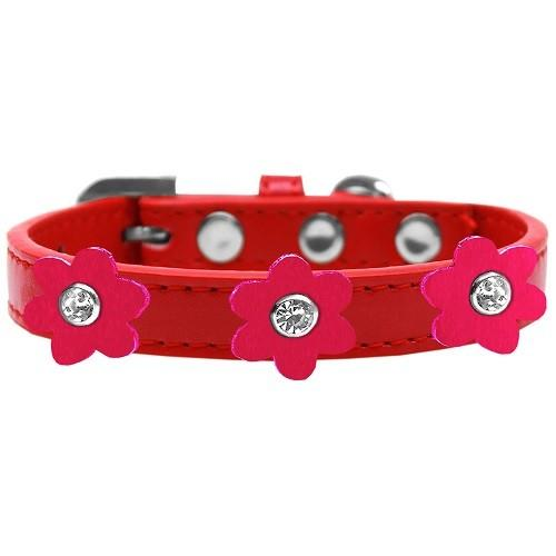 Flower Premium Dog Collar - Red With Bright Pink Flowers | The Pet Boutique