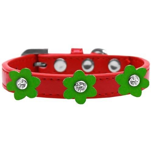 Flower Premium Dog Collar - Red With Emerald Green Flowers | The Pet Boutique