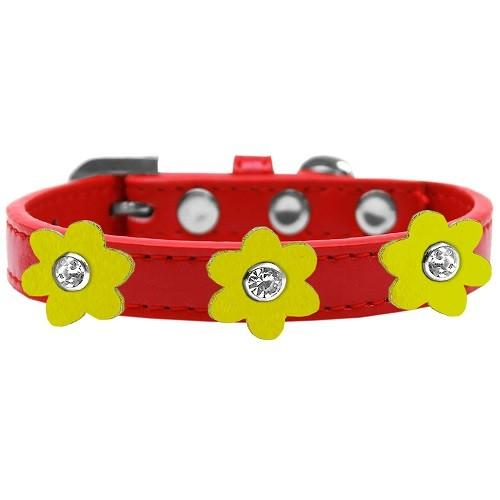 Flower Premium Dog Collar - Red With Yellow Flowers | The Pet Boutique