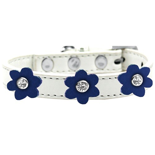 Flower Premium Dog Collar - White With Blue Flowers | The Pet Boutique