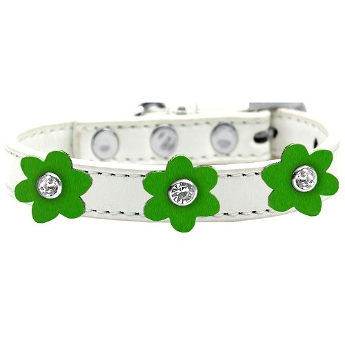 Flower Premium Dog Collar - White With Emerald Green Flowers | The Pet Boutique