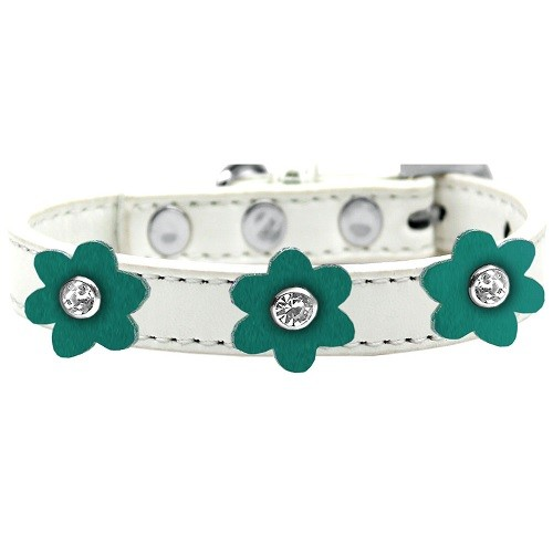 Flower Premium Dog Collar - White With Jade Flowers | The Pet Boutique