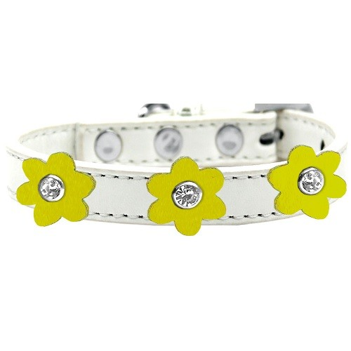 Flower Premium Dog Collar - White With Yellow Flowers | The Pet Boutique