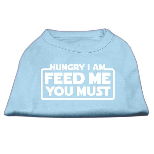 Hungry I Am, Feed Me You Must Screen Print Dog Shirt - Baby Blue | The Pet Boutique