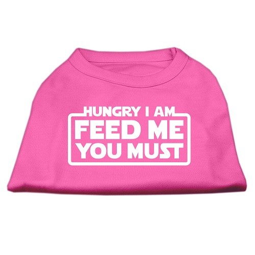 Hungry I Am, Feed Me You Must Screen Print Dog Shirt - Bright Pink | The Pet Boutique