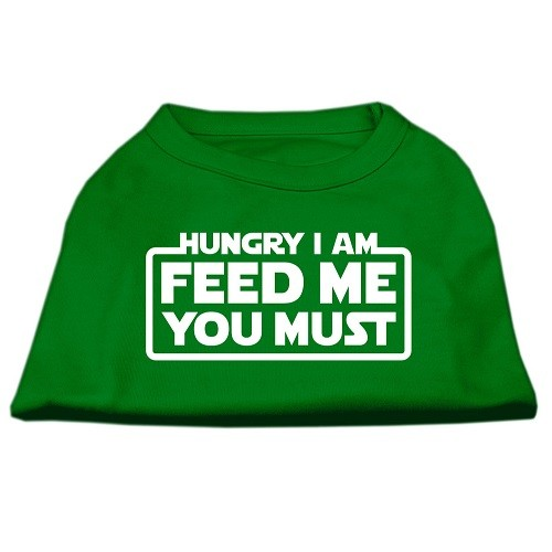 Hungry I Am, Feed Me You Must Screen Print Dog Shirt - Emerald Green | The Pet Boutique