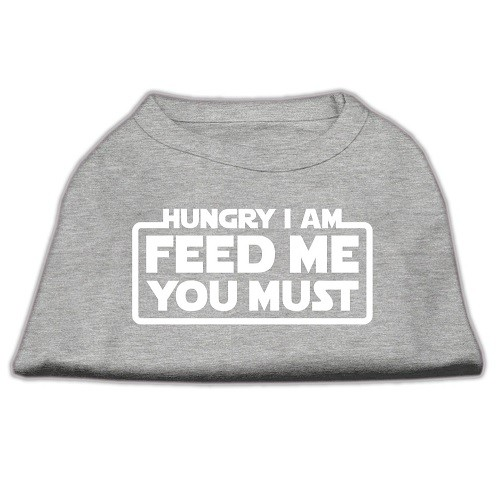 Hungry I Am, Feed Me You Must Screen Print Dog Shirt - Grey | The Pet Boutique