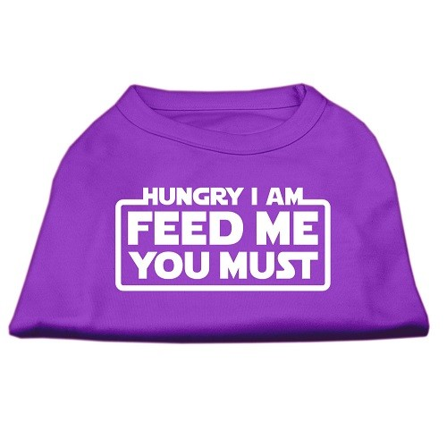 Hungry I Am, Feed Me You Must Screen Print Dog Shirt - Purple | The Pet Boutique