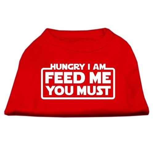 Hungry I Am, Feed Me You Must Screen Print Dog Shirt - Red | The Pet Boutique